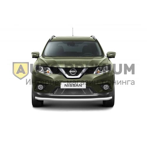 Накладка на решетку бампера (без парктроника) 10 мм (НПС) Nissan X-TRAIL с 2015